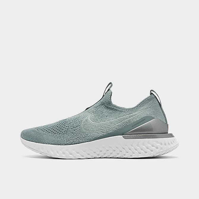 Right view of Women's Nike Epic Phantom React Flyknit Running Shoes in Aviator Grey/Aviator Grey/Metallic Silver Click to zoom