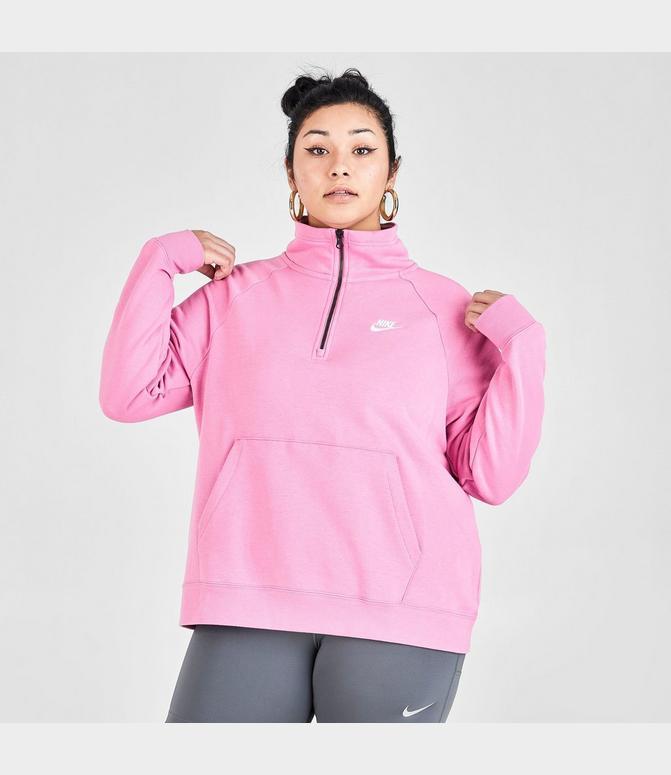 3 women's nike sportswear essential quarter-zip fleece top