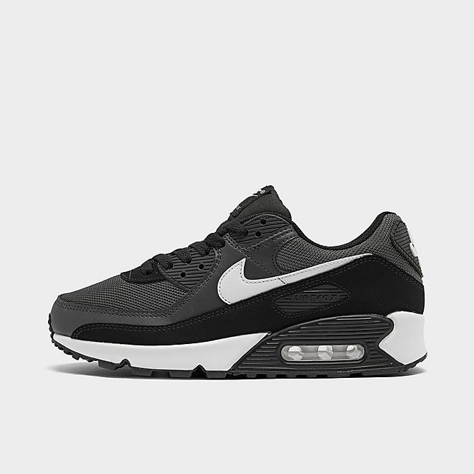 Right view of Men's Nike Air Max 90 Casual Shoes in Iron Grey/Dark Smoke Grey/Black/White Click to zoom