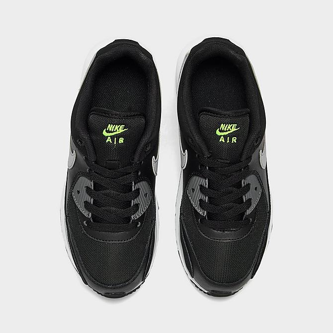 Back view of Little Kids' Nike Air Max Wright Casual Shoes in Black/Wolf Grey/Volt Click to zoom