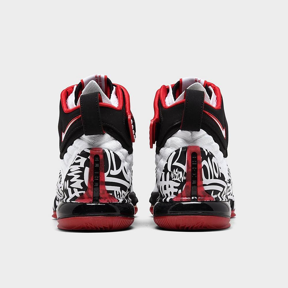 Up close Left view of Men's Nike LeBron 17 Graffiti Basketball Shoes