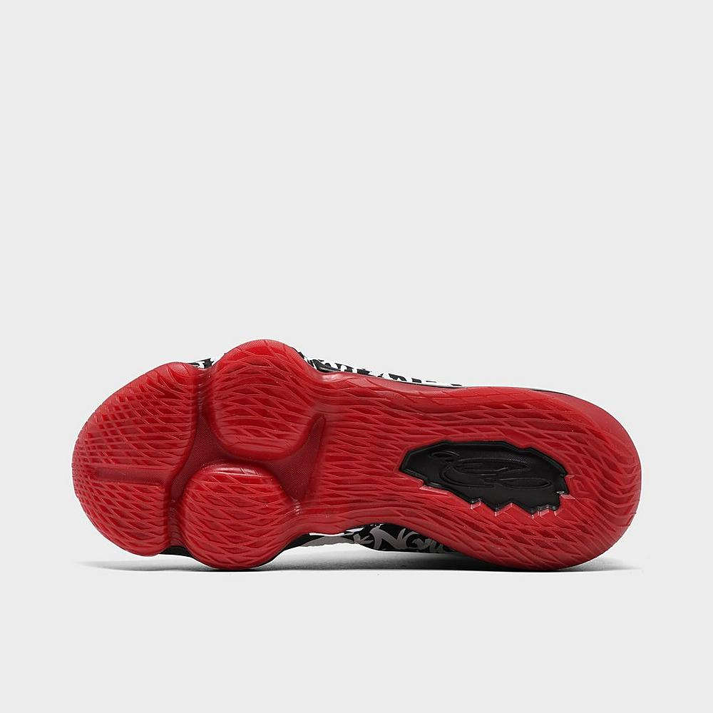 Up close Bottom view of Men's Nike LeBron 17 Graffiti Basketball Shoes