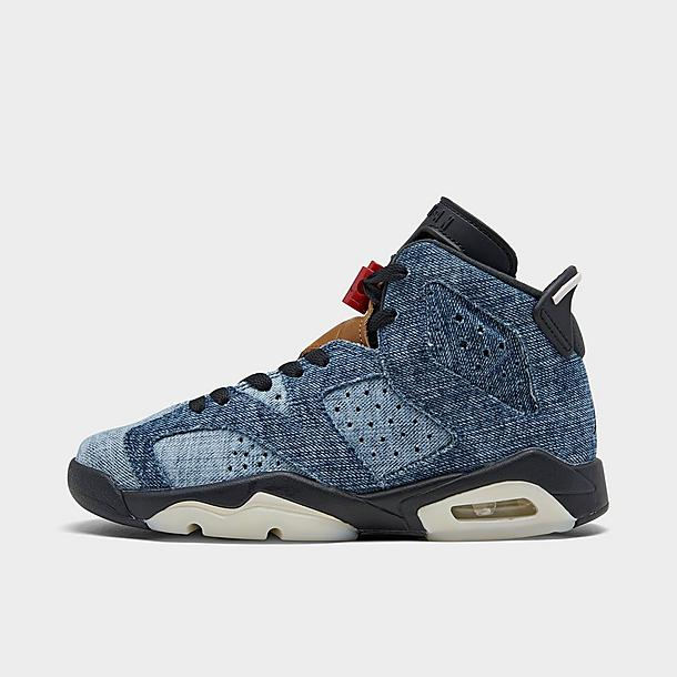 Big Kids' Air Jordan Retro 6 Washed Denim Basketball Shoes| Finish ...