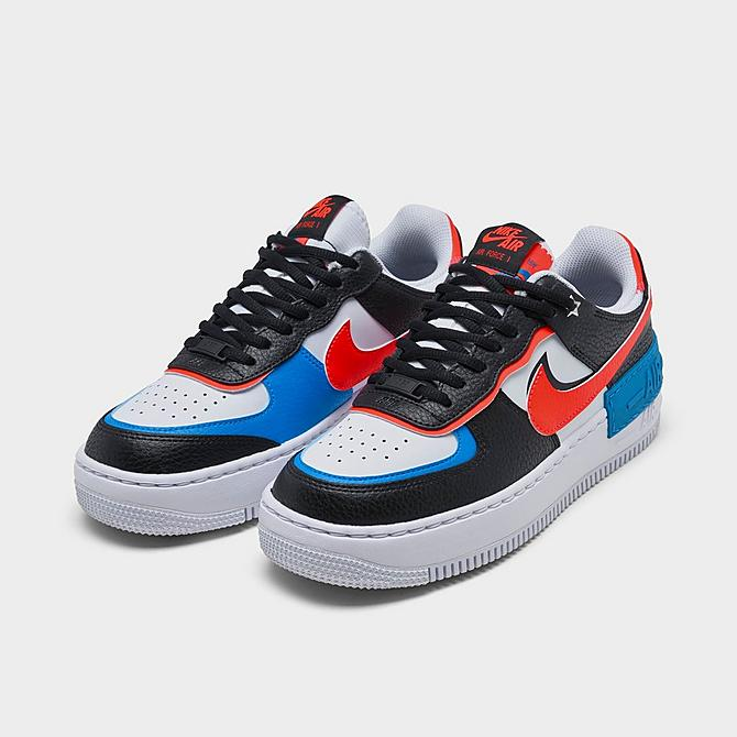 Three Quarter view of Women's Nike Air Force 1 Shadow Shooting Stars Casual Shoes in Black/Bright Crimson/Laser Blue/White Click to zoom