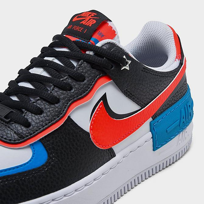 Front view of Women's Nike Air Force 1 Shadow Shooting Stars Casual Shoes in Black/Bright Crimson/Laser Blue/White Click to zoom