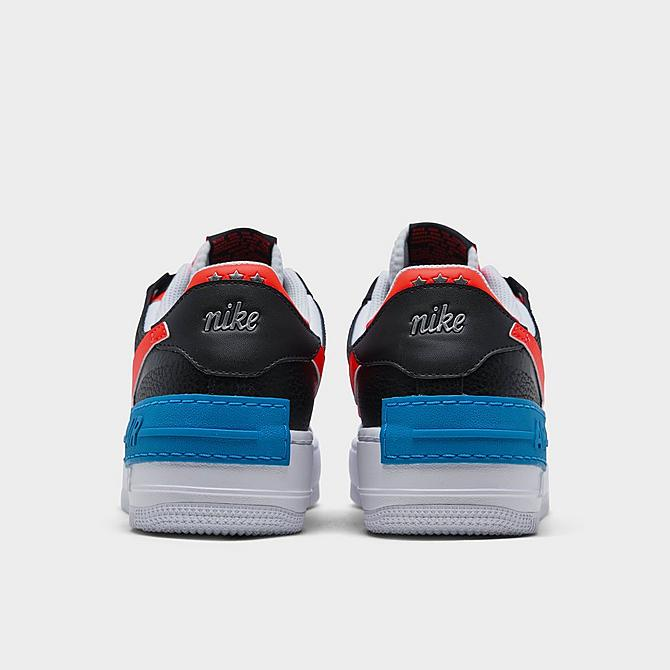 Left view of Women's Nike Air Force 1 Shadow Shooting Stars Casual Shoes in Black/Bright Crimson/Laser Blue/White Click to zoom