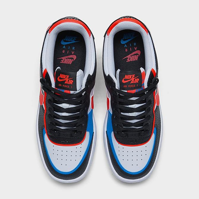 Back view of Women's Nike Air Force 1 Shadow Shooting Stars Casual Shoes in Black/Bright Crimson/Laser Blue/White Click to zoom