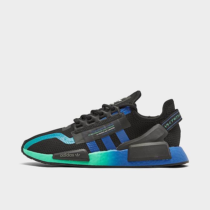 Men S Adidas Nmd R1 V2 Casual Shoes Core Black Blue Cloud White