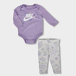 Girls' Infant Nike Sportswear Mini Logo Long-Sleeve Bodysuit and Leggings Set
