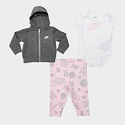 Girls' Infant Nike Mini Monogram 3-Piece Full-Zip Hoodie, Leggings and Bodysuit Set (Infants 0M-9M)