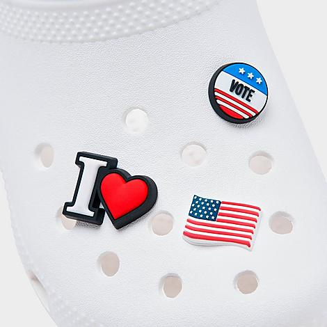 Voter-themed charms to customize Crocs (sold separately) Post-mounted design easily pops into the ventilated holes 3 per pack The Crocs Jibbitz USA Election Charms (3-Pack) are imported. Make sure your voice and look counts this election season. The Crocs Jibbitz USA Election Charms (3-Pack) dresses up your cozy clogs with voter-inspired charms. Size: One size. Color: White/Blue/Red. Gender: unisex. Age Group: adult. Crocs Jibbitz USA Election Charms (3-Pack) in White/Blue/Red