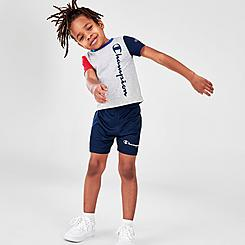 Boys' Toddler Champion Colorblock Vertical Script T-Shirt and Shorts Set