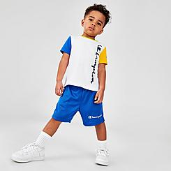 Boys' Toddler Champion Colorblock Vertical Script T-Shirt and Shorts Set
