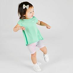 Girls' Infant Nike Top and Pixel Bike Shorts Set