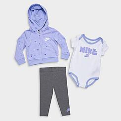 Girls' Infant Nike Mini Monogram Full-Zip Hoodie, Leggings and Bodysuit Set (3-Piece)