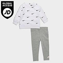 Girls' Infant Nike Mini Swoosh Crewneck Sweatshirt and Leggings Set
