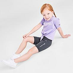Girls' Toddler Champion Tie-Front Script T-Shirt and Bike Shorts Set