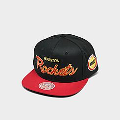 Mitchell & Ness Houston Rockets NBA Flat Script Snapback Hat