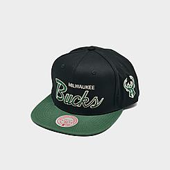 Mitchell & Ness Milwaukee Bucks NBA Flat Script Snapback Hat