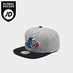Mitchell & Ness Charlotte Hornets NBA Heathered Grey Hardwood Classics Pop Snapback Hat