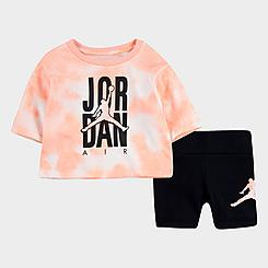 Girls' Toddler Jordan Tie-Dye T-Shirt and Bike Shorts Set