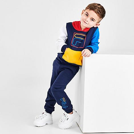 Fila FILA BOYS' TODDLER CARLO COLORBLOCK PULLOVER HOODIE AND JOGGER PANTS SET