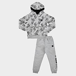 Kids' Toddler Fila Three Sixty AOP Pullover Hoodie and Jogger Pants Fleece Set