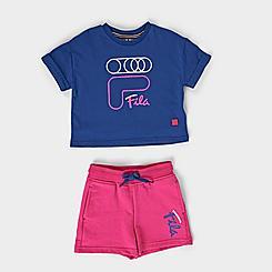 Girls' Toddler Fila Logo T-Shirt and French Terry Shorts Set