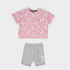 Girls' Toddler Fila AOP Logo T-Shirt and Bike Shorts Set