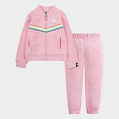 Girls' Toddler Nike Full-Zip Chevron Hoodie and Jogger Pants Set
