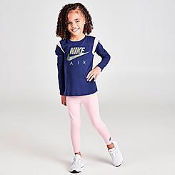 Girls' Toddler Nike Air Colorblock Crewneck Sweatshirt and Leggings Set
