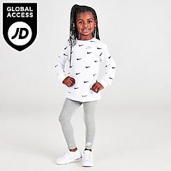 Girls' Toddler Nike Mini Swoosh Crewneck Sweatshirt and Leggings Set