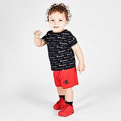 Boys' Infant Champion Allover Print Script Multi-Color Shorts and T-Shirt Set