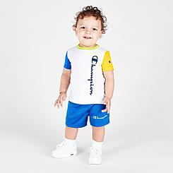 Boys' Infant Champion Colorblock Vertical Script T-Shirt and Shorts Set
