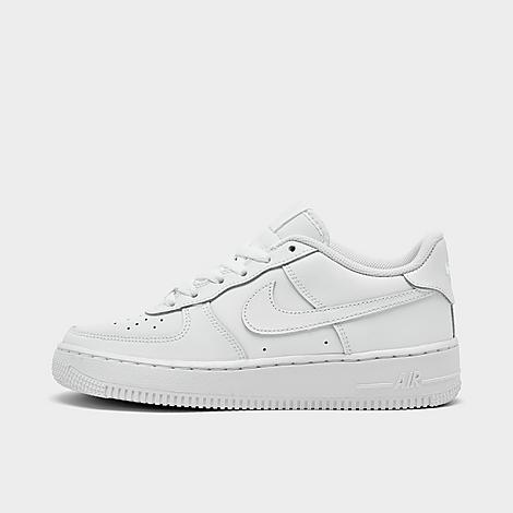 Nike Big Kids' Air Force 1 Low Casual Shoes in White/White Size 6.0 Leather Sizing InformationThese shoes are available Kids sizes, but Women can wear them, too! Women: Select 1.5 sizes down from your typical shoe size for the most comfortable fit Product Features Young ballers will get iconic style from the court to the streets in the Big Kids' Nike Air Force 1 Low Basketball Shoes. Supple leather upper Air-Sole unit Durable rubber sole with pivot points and traction pattern for grip Classic Nike styling The Nike Air Force 1 Low is imported. From pop culture to the streets, the Nike Air Force 1 has dominated the footwear game for decades. Named for the President's air craft, and with premium details and crisp design, these Kids' Nike Air Force 1s celebrate iconic style and heritage Nike DNA. Size: 6.0. Color: White. Gender: female. Nike Big Kids' Air Force 1 Low Casual Shoes in White/White Size 6.0 Leather