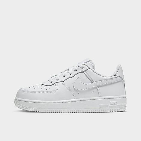 Nike Little Kids' Air Force 1 Low Casual Shoes in White/White Size 1.0 Leather Tumbled genuine, synthetic leather upper provides premium, structured durability Versatile low profile with padding at the tongue and collar Lace closure provides a locked-in fit Perforated construction allows for increased airflow Soft foam midsole wraps feet in plush comfort High-traction grippy rubber sole The Nike Air Force 1 Low Casual Shoes are imported. Have your active kid lace-up in clean, nostalgic style sporting the Little Kids' Nike Air Force 1 Low Casual Shoes. Built with a premium mixed tumbled leather upper, their heritage-rooted design is complemented with a soft foam midsole for classic comfort. Size: 1.0. Color: White. Gender: unisex. Nike Little Kids' Air Force 1 Low Casual Shoes in White/White Size 1.0 Leather