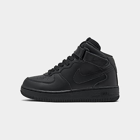 Nike Little Kids' Air Force 1 Mid Basketball Shoes in Black/Black Size 11.0 Leather Own the original classic that made its breakthrough in the 80's with NBA players and is now idolized by fashion, hip-hop and street icons. Smooth leather upper, Air-Sole in the heel and solid rubber outsole with classic traction pattern. Nike footwear designers worked diligently for three years to integrate Nike Air-Sole units into basketball kicks. Finally in 1982, the Air Force 1 shoe became the first baller shoe to feature Nike Air technology in its innersole. It took a few years to gain traction in the market, but once it did it was unstoppable. Much like the other Nike footwear icons, Air Force 1 has popularity with not only b-ball enthusiasts but indie trend setters and fashion seekers, too. With the clean, timeless design it's not surprising that Air Force 1 sticks out as a Nike icon and is a sneaker head's first and last word in basketball shoes. Slip into the supple leather and flush seaming to experience the superior comfort of the Air Force 1 for yourself. FEATURES: UPPER: Smooth leather OUTSOLE: Rubber IMPORTED Size: 11.0. Color: Black. Gender: unisex. Age Group: kids. Nike Little Kids' Air Force 1 Mid Basketball Shoes in Black/Black Size 11.0 Leather