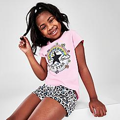 Girls' Little Kids' Converse Leopard Print French Terry Shorts