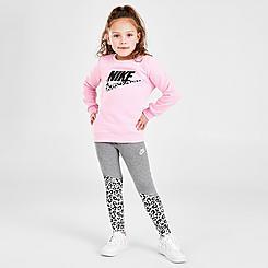 Girls' Little Kids' Nike Leopard Futura Crewneck Sweatshirt and Leggings Set