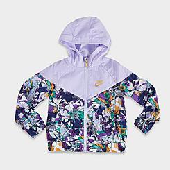 Girls' Little Kids' Nike Sportswear Windrunner Full-Zip Printed Jacket