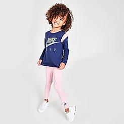 Girls' Little Kids' Nike Air Colorblock Crewneck Sweatshirt and Leggings Set