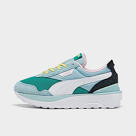Puma Women's Cruise Rider Silk Road Casual Shoes in Blue/Green/Green Size 8.0 Suede/Silk Suede, synthetic and textile upper is stylish and comfy Lace closure Large Puma Formstrip at sides and Puma logo tags throughout Cushioned insole Rubber sole with traction pattern The Puma Cruise Rider Silk Road is imported. Comfortable and ultra-stylish, the Women's Puma Cruise Rider Silk Road Casual Shoe has a low-key, sporty look for everyday wear. These fun sneakers feature a mixed media upper for a sleek pair of kicks you'll want to rock every single day. Size: 8.0. Color: Blue/Green. Gender: female. Age Group: adult. Material: Suede/Silk. Puma Women's Cruise Rider Silk Road Casual Shoes in Blue/Green/Green Size 8.0 Suede/Silk
