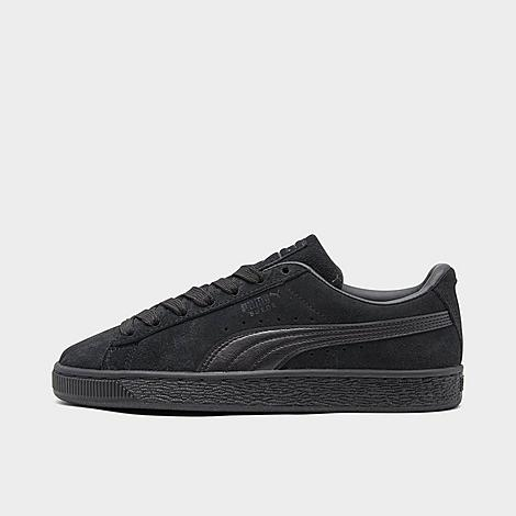 Puma Big Kids' Suede Casual Shoes in Black/Black Size 5.5 Nubuck upper with soft suede overlays Puma Formstrip at sides and branding at tag Custom fit lacing Vulcanized rubber outsole The Puma Suede is imported. Now little dudes can enjoy the comfort and classic styling of the skate-inspired Puma Suede Casual Shoes. Laid-back and comfy, these low-key sneaks boast Puma branding and a comfortable cushioned insole for a sneaker that looks and feels good. Size: 5.5. Color: Black. Gender: unisex. Age Group: kids. Puma Big Kids' Suede Casual Shoes in Black/Black Size 5.5