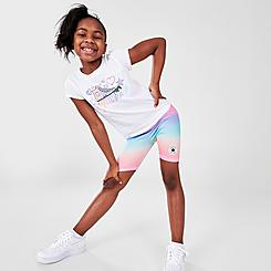 Girls' Little Kids' Converse Logo T-Shirt and Ombre Bike Shorts Set