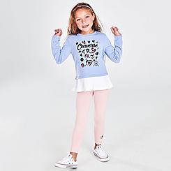 Girls' Little Kids' Converse Pleated Peplum Long-Sleeve Shirt and Leggings Set