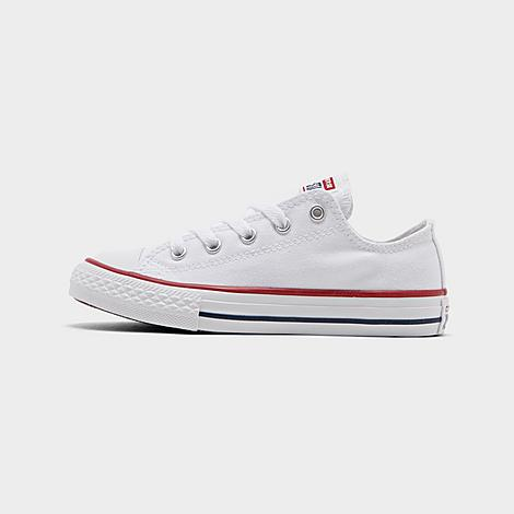 Converse Little Kids' Chuck Taylor Low Top Casual Shoes in White/Optical White Size 3.0 Canvas As all-American as apple pie, the Little Kids' Chuck Taylor Low Top is an essential sneaker for all ages Sturdy canvas upper for comfort and durability Lace-up front Chuck Taylor branding Rubber sole The Converse Chuck Taylor Low Top is imported. The classic, iconic Chuck Taylor Low Top is back and as stylish as ever on this coveted little kids' model. Size: 3.0. Color: White. Gender: unisex. Converse Little Kids' Chuck Taylor Low Top Casual Shoes in White/Optical White Size 3.0 Canvas
