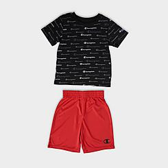 Boys' Little Kids' Champion Allover Print Script Multi-Color Shorts and T-Shirt Set