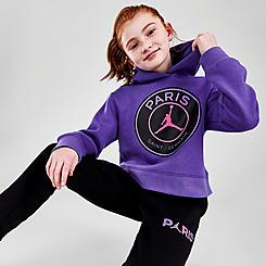 Girls' Jordan Paris Saint-Germain Galaxy Cropped Pullover Hoodie