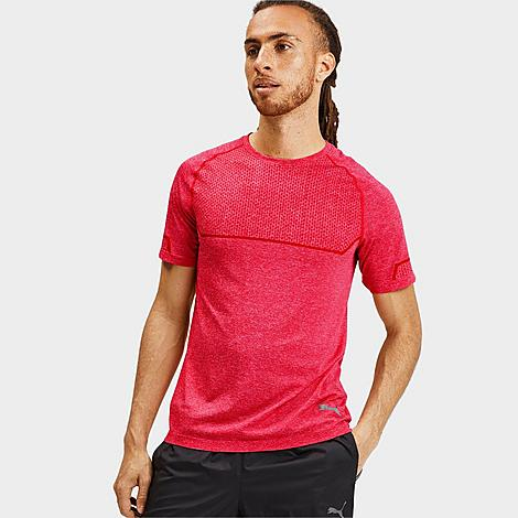 Puma Men's Energy Seamless T-Shirt in Red/High Risk Red Heather Size Small Nylon/Polyester/Knit Size & Fit Standard fit is athletic and relaxed Product Features evoKNIT material is lightweight, super breathable and form-fitting without the squeeze dryCELL wicks sweat away from the body, keeping you cool and dry Crewneck collar and drop back hem 71% polyester, 29% nylon Machine wash The Puma Energy Seamless T-Shirt is imported. Take your training to the next level in the Men's Puma Energy Seamless T-Shirt. Built for performance, this classic tee is lightweight, seamless and wicks sweat away from your body so you're as comfortable as possible putting in reps. Size: Small. Color: Red. Gender: male. Age Group: adult. Material: Nylon/Polyester/Knit. Puma Men's Energy Seamless T-Shirt in Red/High Risk Red Heather Size Small Nylon/Polyester/Knit