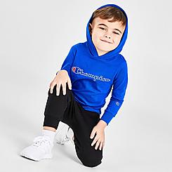 Boys' Toddler and Little Kids' Champion Script Logo Hooded Long-Sleeve T-Shirt and Jogger Pants Set